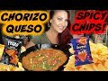 CHORIZO QUESO AND SPICY CHIPBANG! RECIPE TRYING NEW DORITOS BLAZE VEGAN MUKBANG
