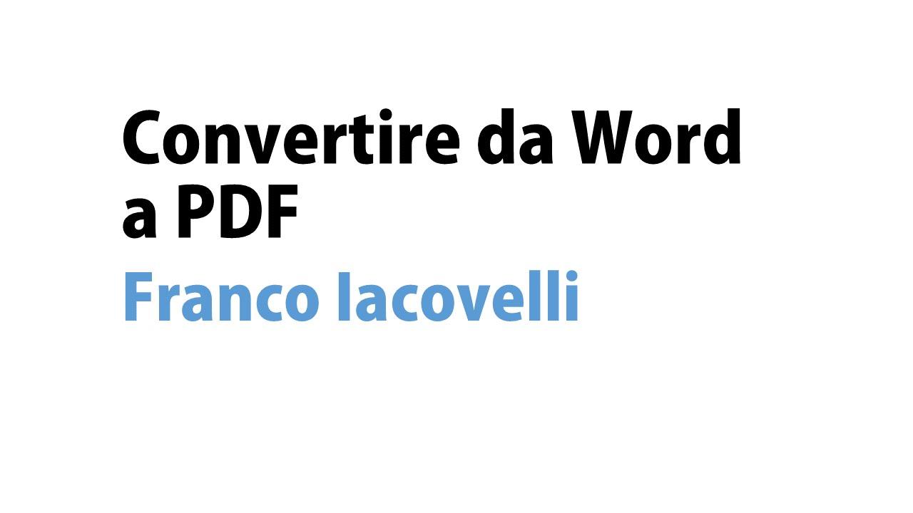 Da Pdf A Word Gratis In Italiano