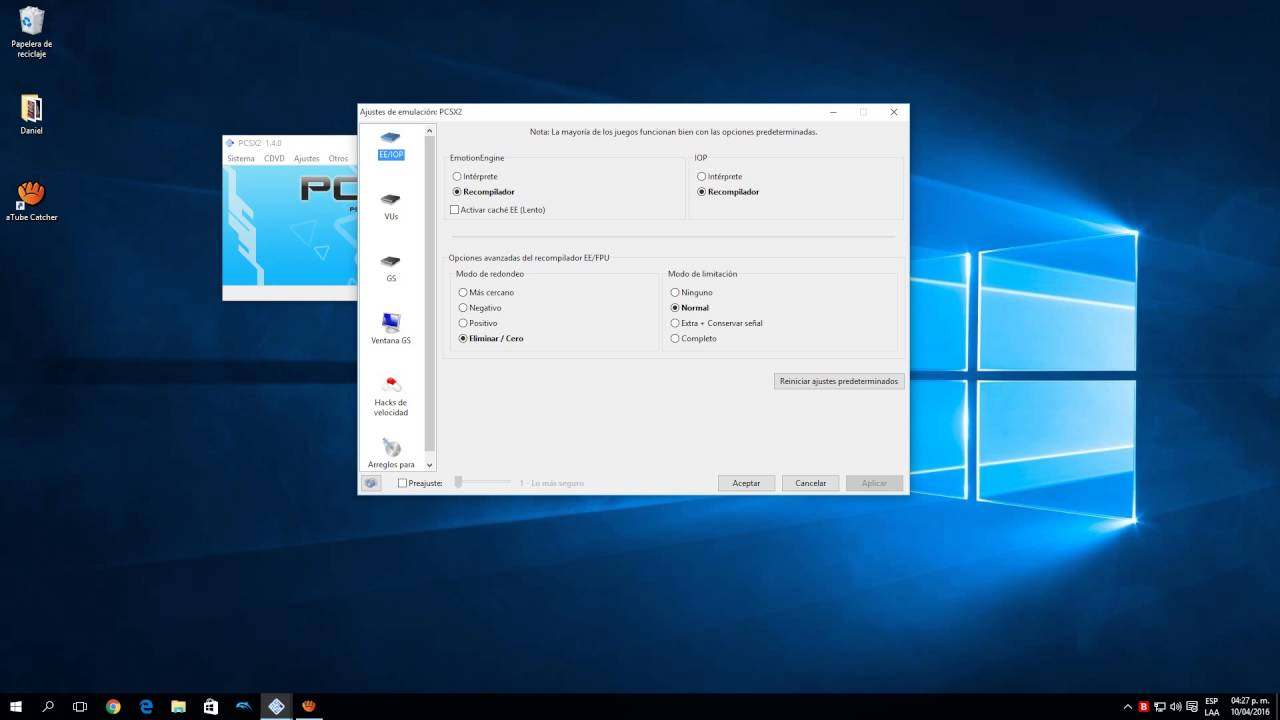 pcsx2 1.4.0 configuración pc gama baja y media, velocidad al 100% 55 ...