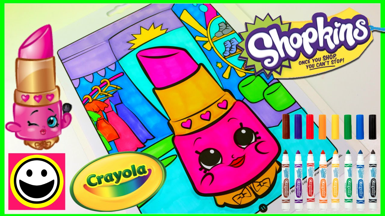 SHOPKINS Coloring Pages   LIPPY LIPS   Crayola Coloring Book   Color With  Me   SPEED COLORING   YouTube