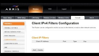 How to Apply a Firewall IP Client Filter on the ARRIS Wireless Router (Brighthouse / Spectrum)