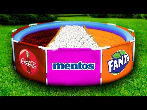 Эксперимент: КОКА КОЛА vs МЕНТОС vs ФАНТА в бассейне !