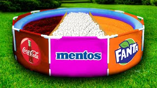 Experiment: Coca Cola vs Mentos vs Fanta in the Pool