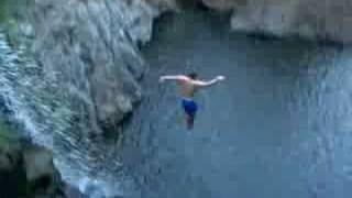 Cliff Jumping off Waterfall in Costa Rica