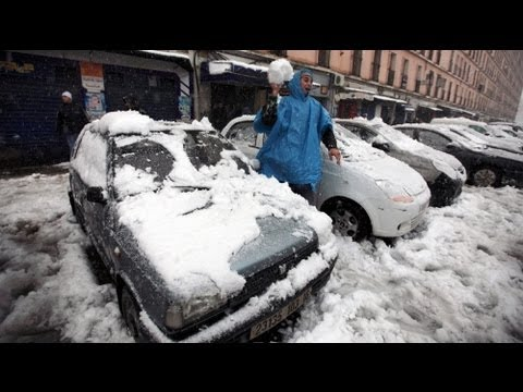 Algeria turned white by rare snowfall