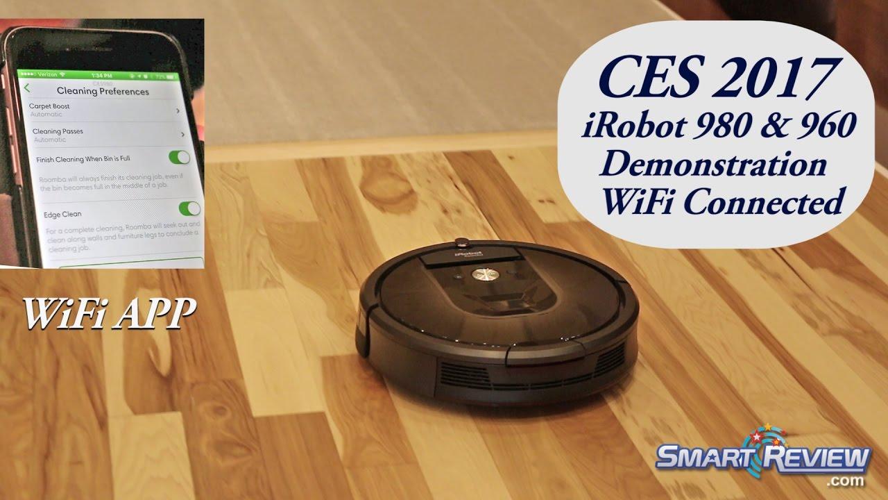CES 2017 | iRobot Roomba 980 WiFi Robot Demonstration | 900 Series Robotic  Vacuum | Smart Review