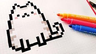 Handmade Pixel Art - How To Draw a Kawaii Cat #pixelart