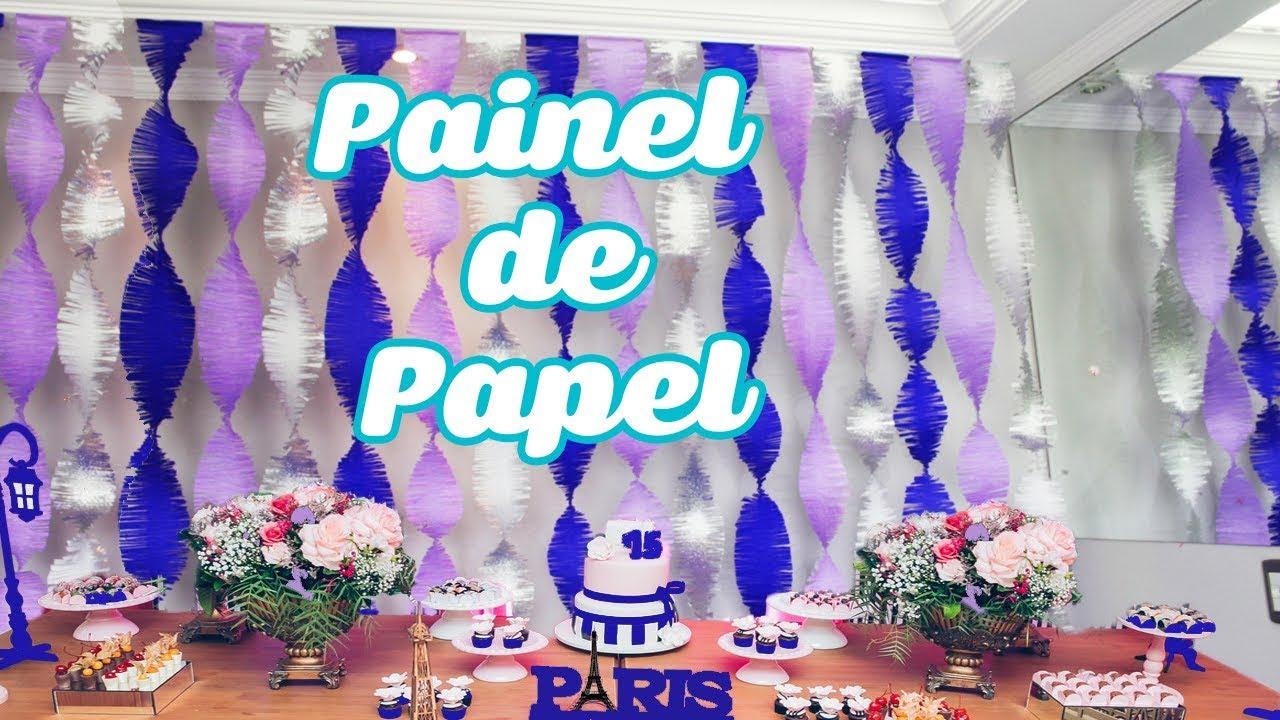 Decoraç u00e3o de festa de quinze anos Painel de Papel Crepom YouTube -> Decoração De Festa Com Papel Crepom Passo A Passo