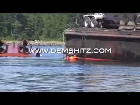 Tugboat capsizes while pulling a barge. Amazing how quick it happens