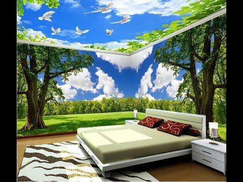 Desain Wallpaper Kamar Tidur Motif Awan Pegunungan Cantik
