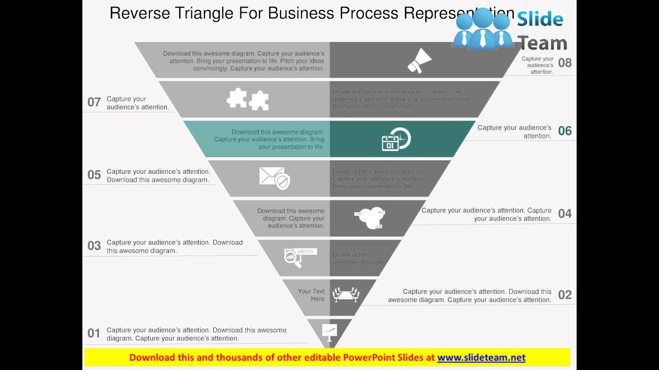 reverse pyramid for business process representation flat powerpoint ...