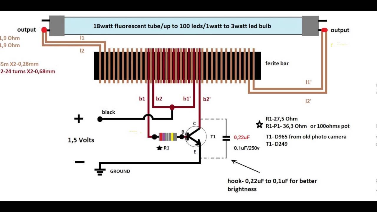 1,5 volt inverter to 220 volts schematic diagram(schema