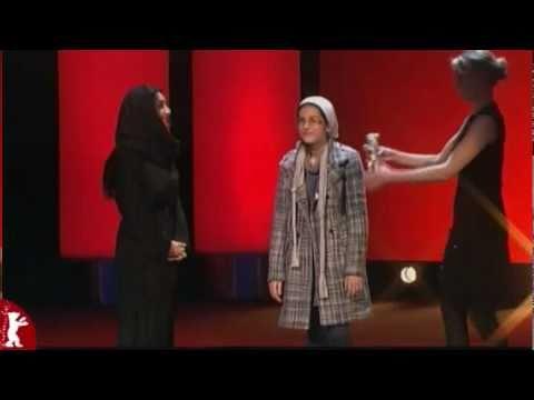 Sareh Bayat and Sarina Farhadi receiving their Silver Bear for