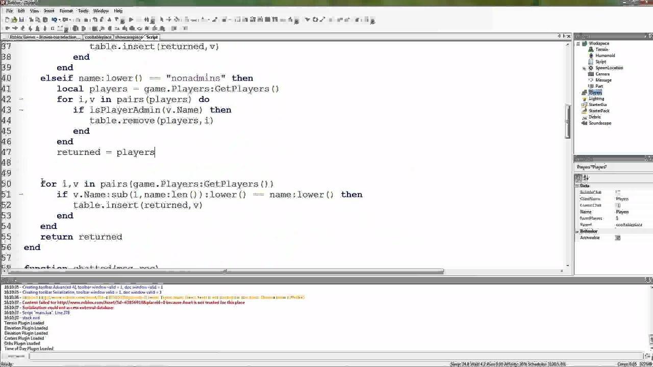Roblox Lua Tutorials - 22: other, all, admins and nonadmins macros
