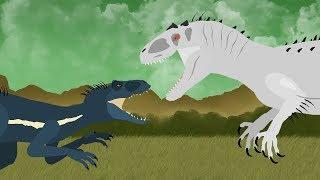 Dinosaurs cartoons battles: Indoraptor vs Indominus Rex. DinoMania - NEW Episode