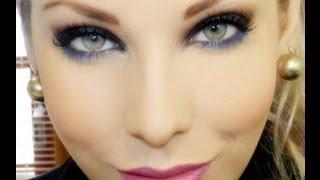 Maquiagem básica, com toque de azul, por Lu Ferraes