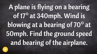 Solve a word problem using vectors, airplane and wind