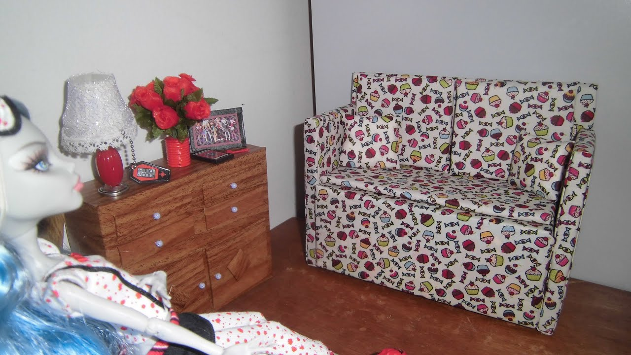 Como fazer um sofá #1 para boneca Monster High Pullip Barbie e etc  #A12A36 3000x1688