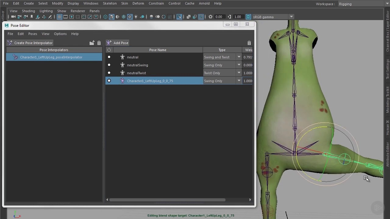 Connect the Corrective Shapes by Using the Pose Editor