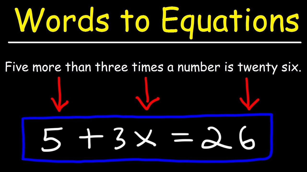 hight resolution of Translating Words To Algebraic Expressions Explained! - YouTube