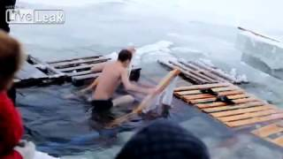 "Russians Dip In A Freezing Holy Water. Baptism of Jesus. ""Real Russia"