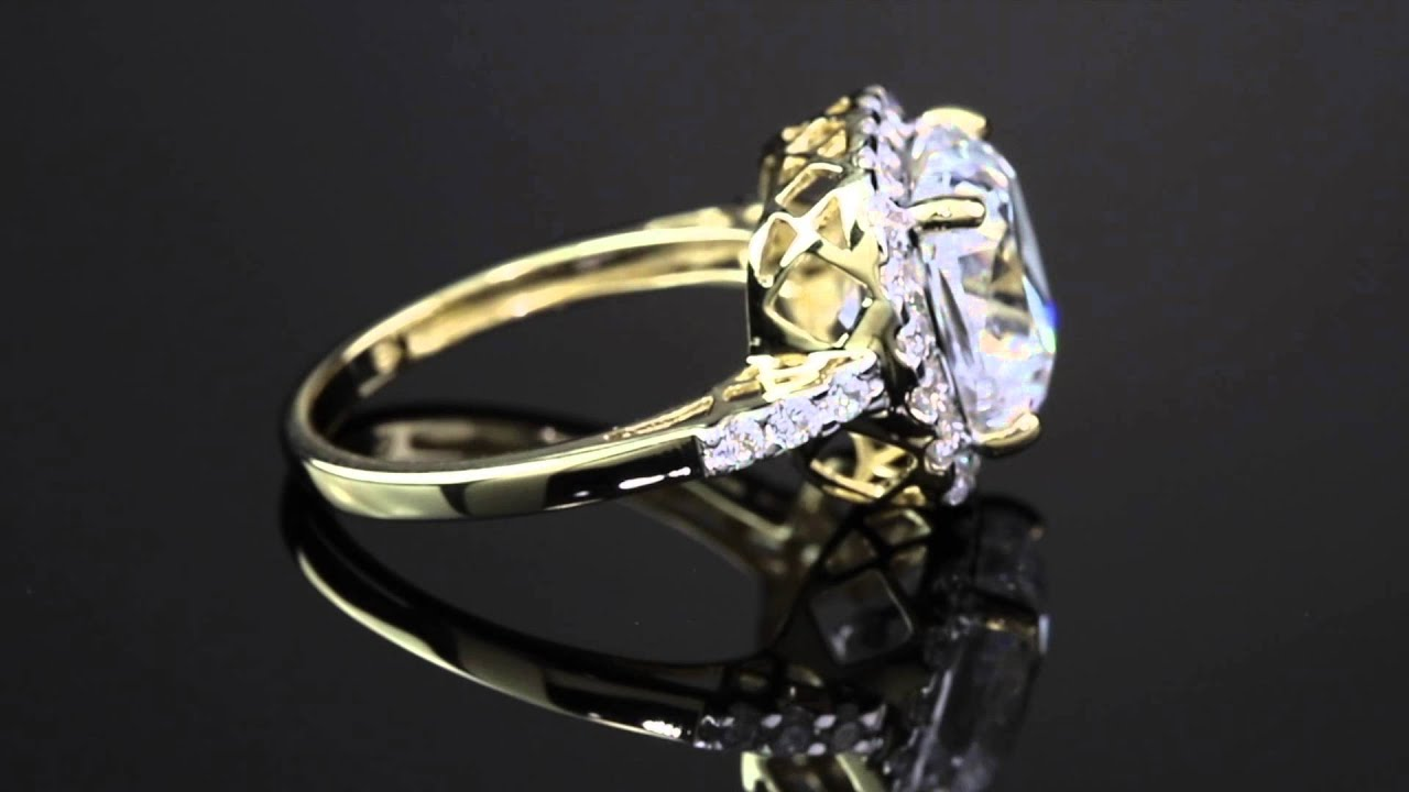 3 20 TCW Cushion Cut Cubic Zirconia Cutout Halo Engagement Ring In