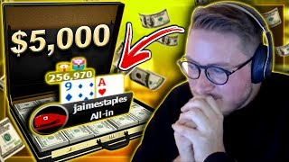 A $5,000 POKER HAND?! - ALL IN ON THE BUBBLE!!!  PokerStaples Stream Highlights