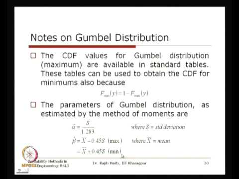 Mod-01 Lec-33 Probability Models using Gamma and Extreme Value Distribution