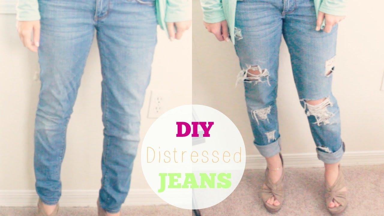 DIY Distressed Boyfriend Jeans | Courtney Lundquist - YouTube