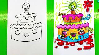 How to draw a CAKE / Children Coloring Books Ruined By Adults