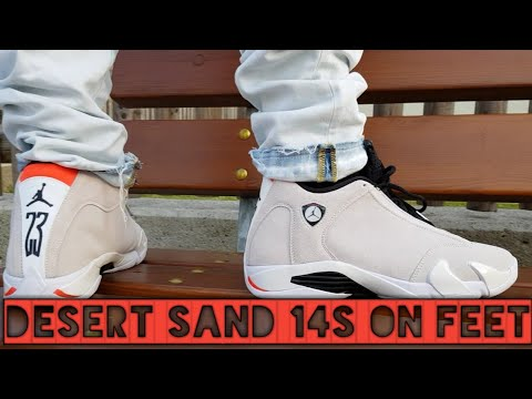 4883735c2c7d AIR JORDAN 14  DESERT SAND  ON FOOT!!! - YouTube