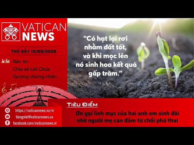 Radio: Vatican News Tiếng Việt thứ Bảy 19.09.2020