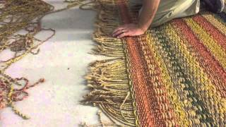 Fringe repair on a jute rug