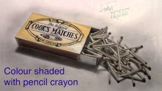 Realistic drawing - matchbox with matches