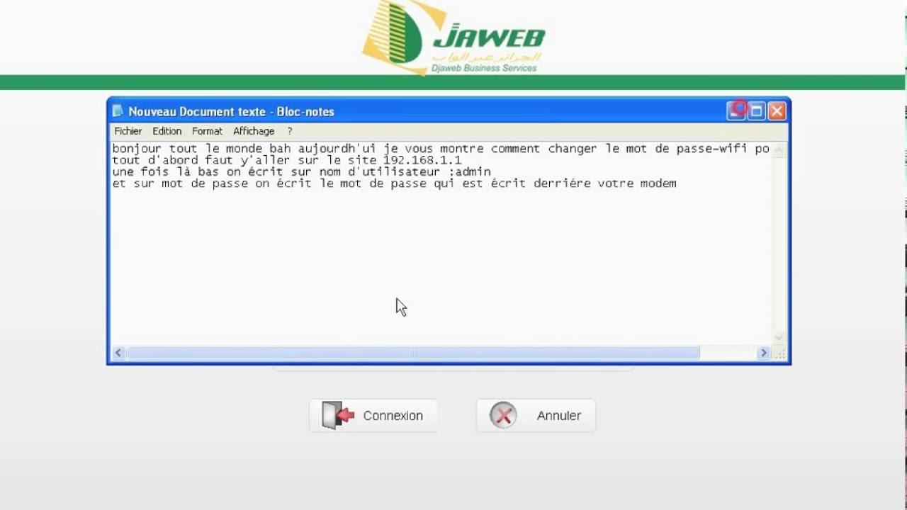 Assez Tuto: comment changer le mot de passe wifi pour DJAWEB - YouTube MW75