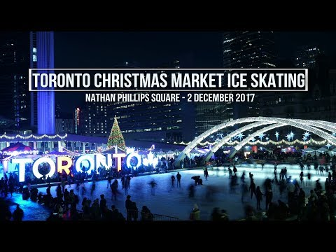 Ice Skating at Toronto's Holiday Fair in the Square at Nathan Phillips Square - Timelapse