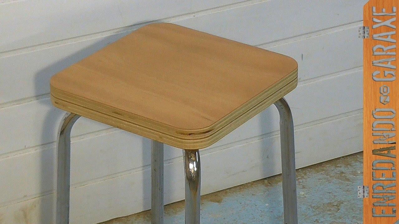 C mo hacer el asiento de madera de una banqueta youtube - Asientos para taburetes ...