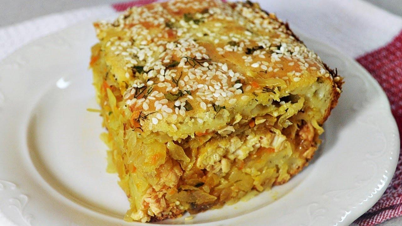 Капустный пирог с мясом -  полноценный обед или ужин!
