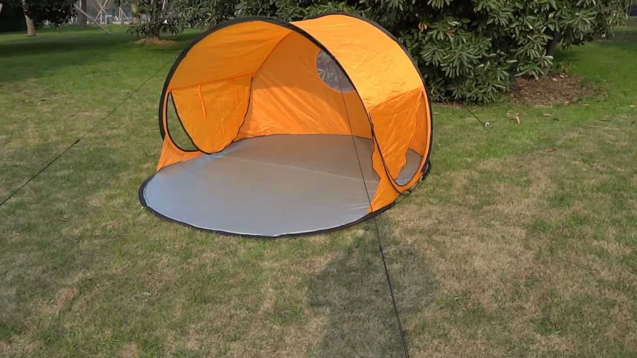 & Single Layer Pop Up Beach Tent - YouTube