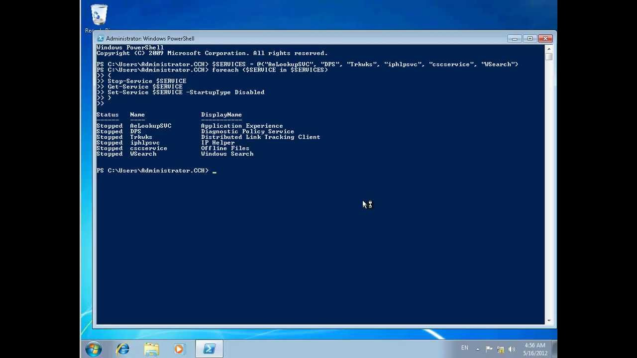 Citrix :Using PowerShell to Disable Services in a XenDesktop Master Image