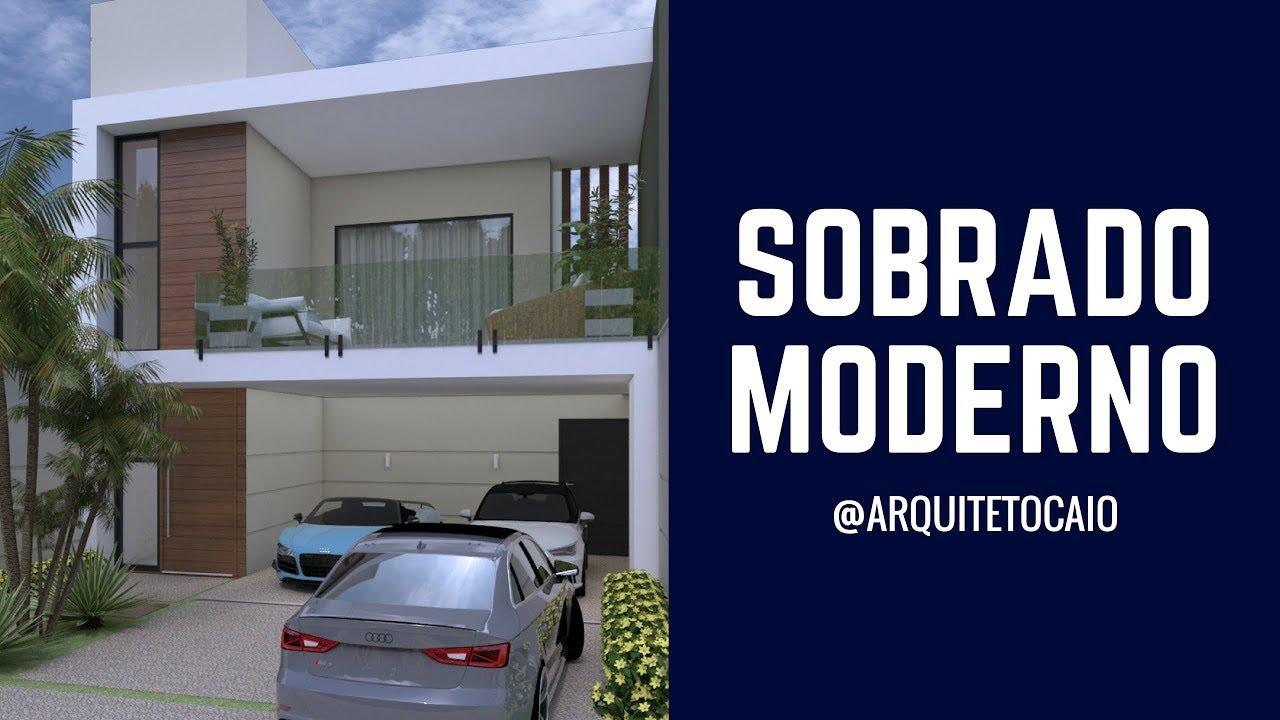 Projeto casa sobrado moderno fachada reta caixote 8x25 for Fachada apartamentos pequenos