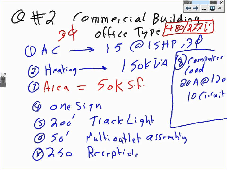 Transformer Sizing & Commercial Load calculation T#1 1 review for 01 ...