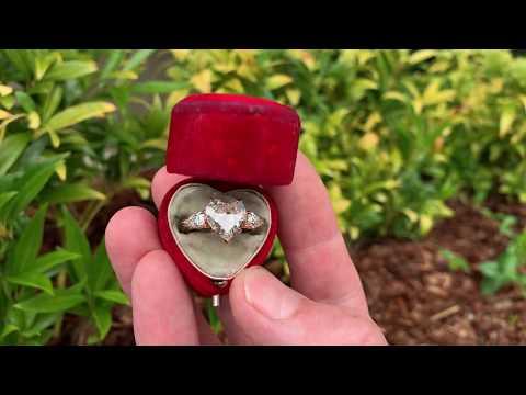 Rose Gold Heart Diamond Engagement Ring 2.77ct J/VS2 GIA