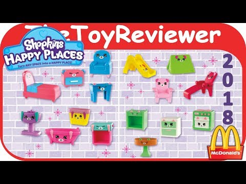 2018 Shopkins Happy Places Happy Meal McDonalds COMPLETE SET 16 Unboxing Toy Review TheToyReviewer