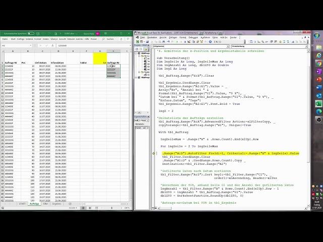175. Excel-VBA: Ohne VBA kaum lösbar? Wann sind 80% aller Positionen pro Auftrag abgewickelt?