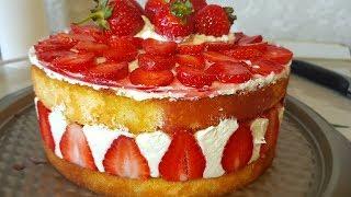 Торт Фрезье цыганка готовит. Торт с клубникой. Gipsy cuisine.