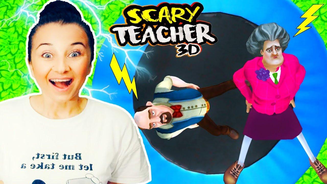 SCARY TEACHER 3 D DELİ ÖĞRETMEN TRAMBOLİN KAKTÜS ŞAKASI YENİ BÖLÜM ALTIN AİLESİ