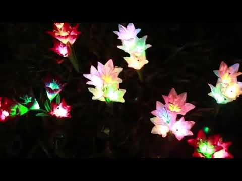 Solar Garden Decorations Artificial Glowing Flowers with ...