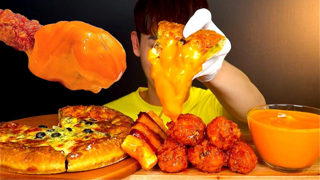 ASMR 치즈 폭탄 피자 🍕 불닭마요&양념치킨 닭다리 소떡소떡 먹방~!! Chicago Pizza 🧀 With Sweet Chicken Legs Sausage MuKBang~!