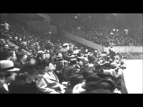 The New York Americans win an ice hockey match against the New York Rangers by 2-...HD Stock Footage